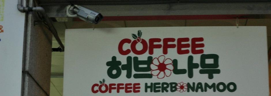 입구에 걸려 있는 커피나무 허브나무의 간판
