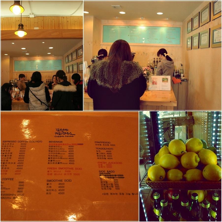 첫번째 사진부터 시계방향으로 주문을 기다리는 손님들 / 계산대 / 메뉴판 딸기바나나5.500 화이트초콜릿4.500등 / 레몬