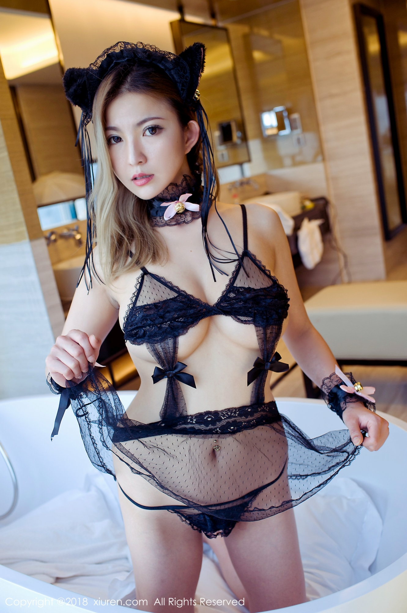 erotic Chinese in transparent lingerie