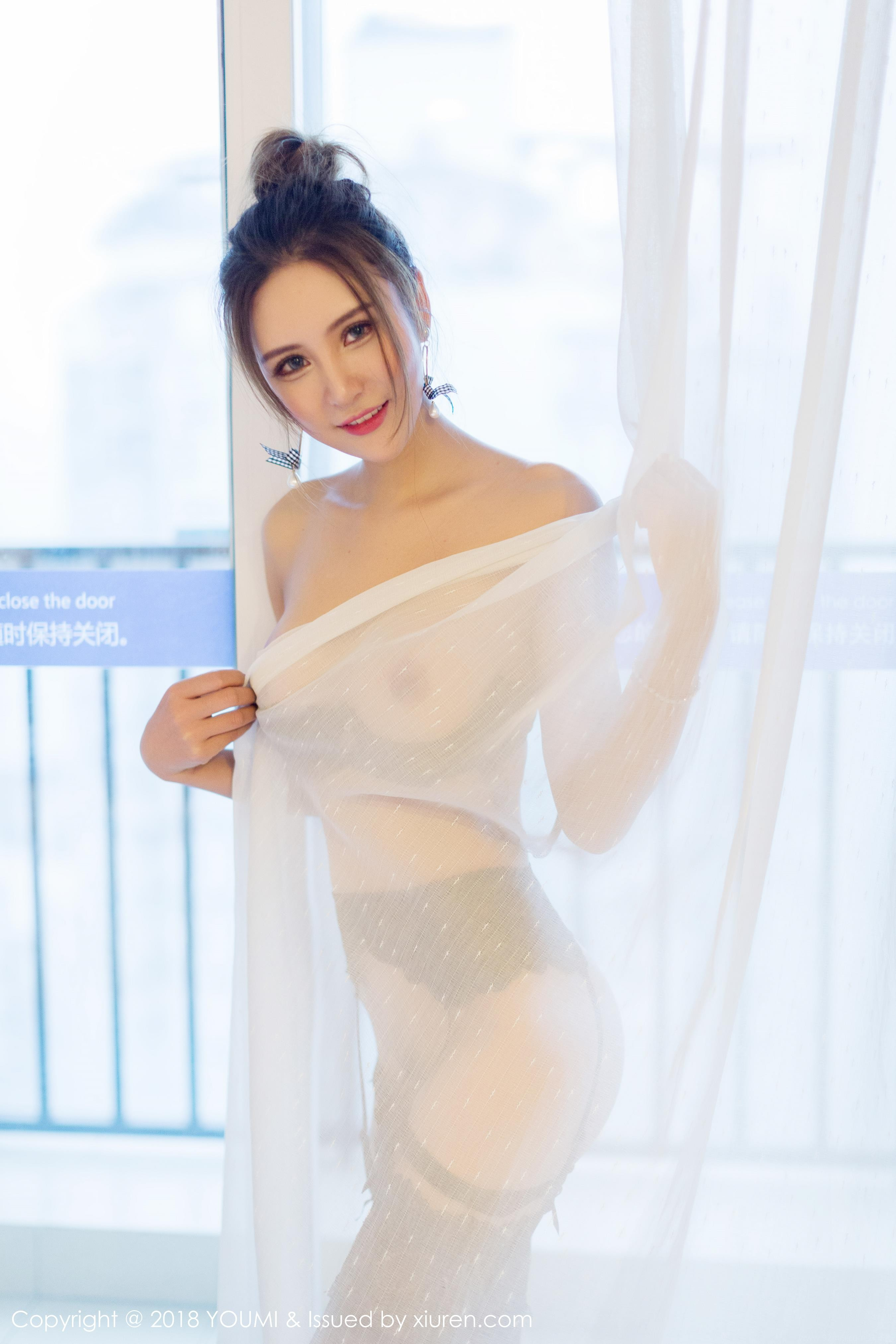 hot Chinese women in transparent curtain